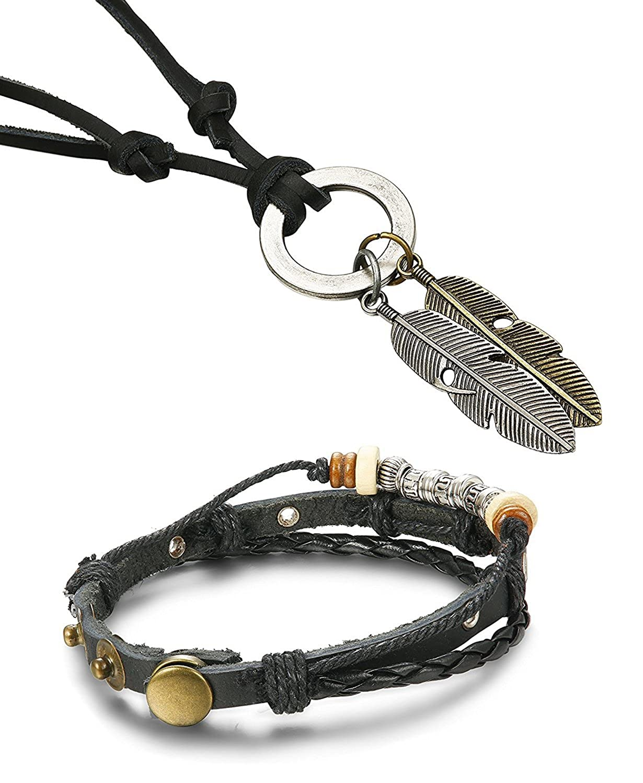 sailimue 2-4 Pcs Bracelet Collier pour Hommes Femmes Cordon Bracelets Pendentif Collier Bracelet Tress/é Longueur R/églable