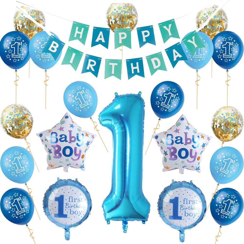 Nvetls 1er Cumpleaños Bebe Globos Decoracion Cumpleaños 1 Año Bebe Niño y Niña (Azul): Amazon.es: Juguetes y juegos