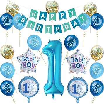 Nvetls 1er Cumpleaños Bebe Globos Decoracion Cumpleaños 1 Año Bebe ...