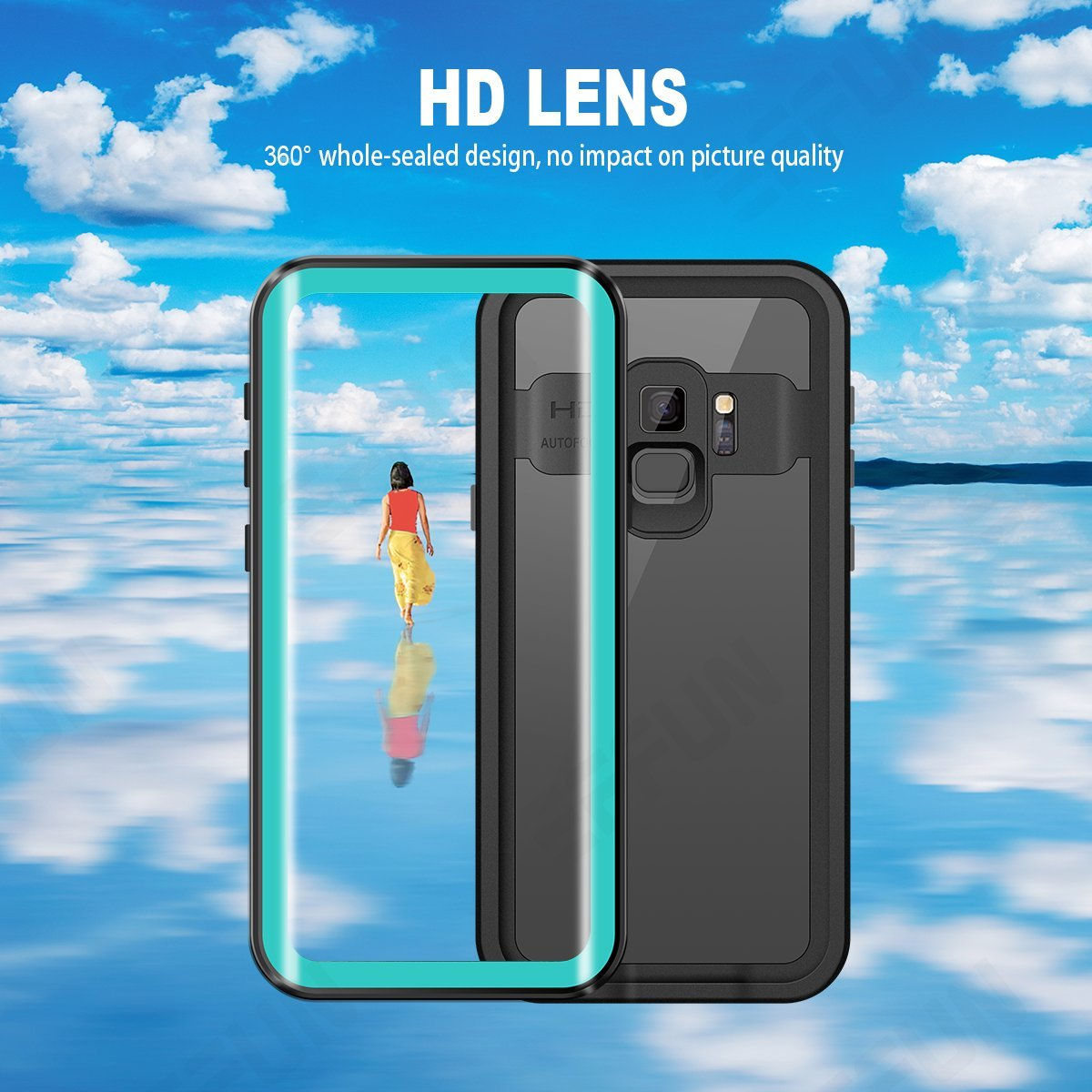 IP68 Certified Waterproof Underwater Cover Dustproof Snowproof Shockproof Case for Galaxy S9 with Phone Stand PH Test Paper and Floating Strap EFFUN Samsung Galaxy S9 Waterproof Case
