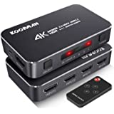 4K HDR HDMI Switch, Koopman 4 Ports 4K 60Hz HDMI 2.0 Switcher Selector with IR Wireless Remote, Supports UltraHD Dolby…
