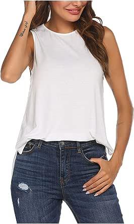Pinspark Women's Soft Summer Sleeveless Casual Shirts Round Neck Cotton Swing Tank Tops