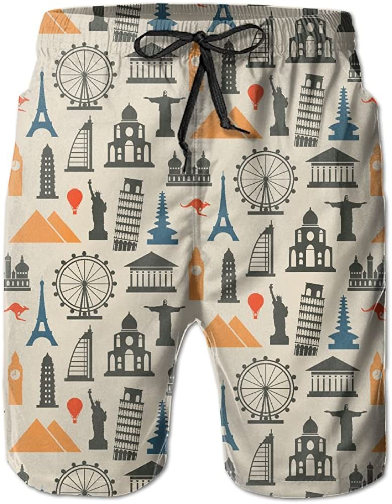 World Famous Statue of Liberty Summer Casual Style Adjustable Beach Home Sport Shorts