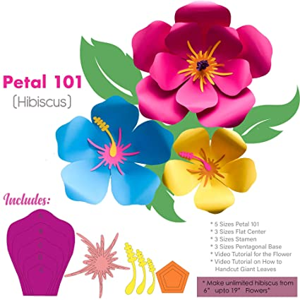 Amazoncom Hibiscus Petal 101 Giant Paper Flower Templates Kit 6 7