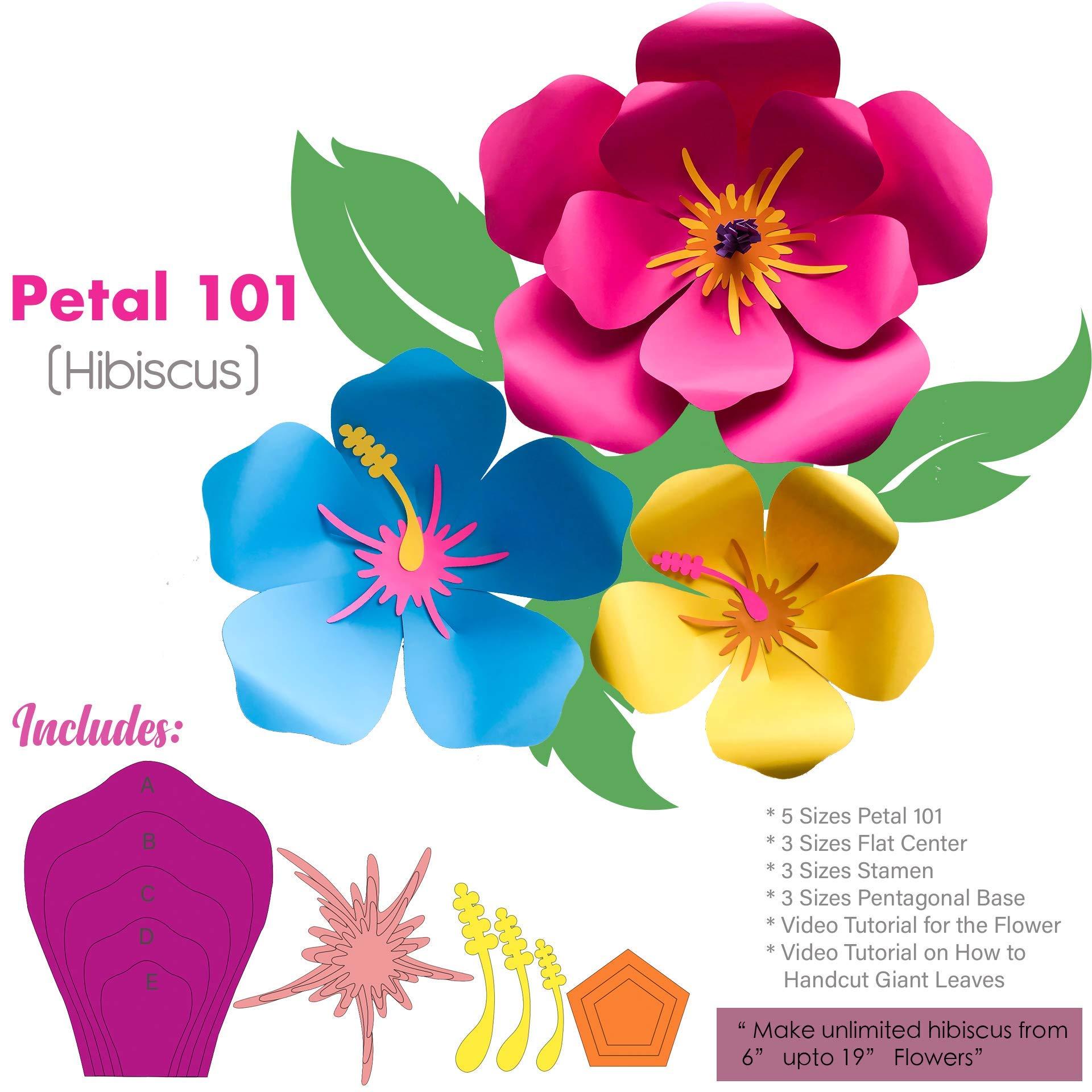Hibiscus Petal 101 Giant Paper Flower Templates Kit 6-7 Sizes