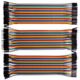 Kuman 120pcs Multicolored 40pin Male to Female, 40pin Male to Male, 40pin Female to Female Breadboard Jumper Wires Ribbon Cables Kit pack K45