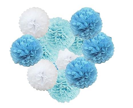 Ohighing Pompons Blau Weiß Pompoms Deko Set Boy Babyshower Junge Taufe Pom Poms Deburtstagsdeko 12pcs 25cm10