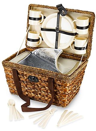 Bamboo 21-Piece Insulated Picnic Basket - BedBathandBeyond.com