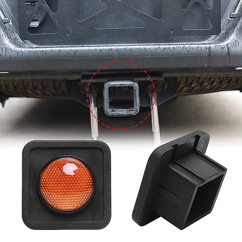 BASIKER 2 Inch Trailer Hitch Tube Cover, Tail Circular Light Reflection, Rear Safety Warning Lights, Step Bumper Tow Receiver Tube Plug Cap (Amber) by BASIKER