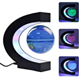 Gopush Floating Globe, Multi-Color Changing C Shape Magnetic Levitation Floating Globe World Map with LED Lights for Children Gift Home Office Desk Decoration (Blue)