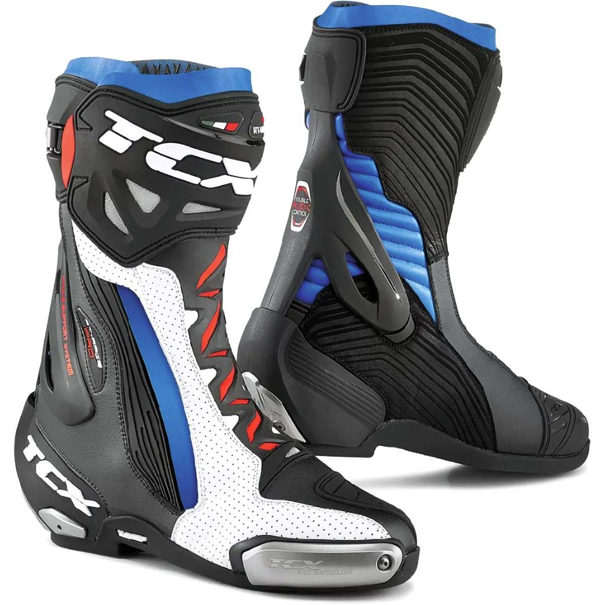 White//Black//Blue 44 TCX Rt-Race Pro Air Mens Street Motorcycle Boots