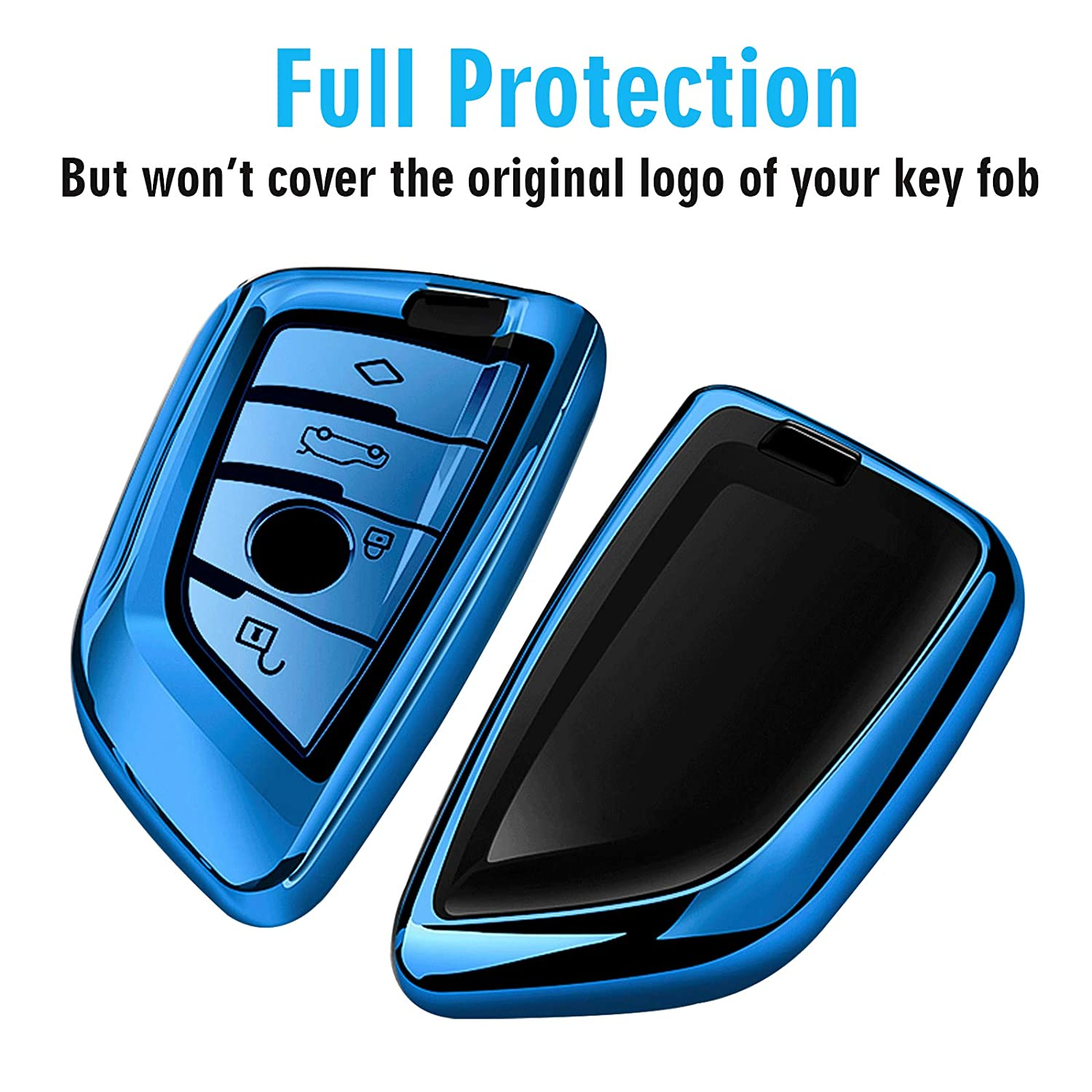 Uxinuo for BMW Key Fob Cover Full Protection Soft TPU Key Fob Case Compatible with BMW X1 X3 X5 X6 and 5 Series 2018 7 Series 2017 up 2 Series and 6 Series GT Keyless Entry Rose Gold