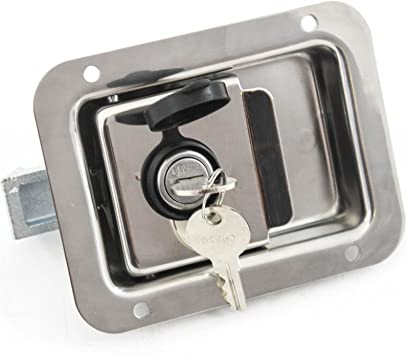 Red Hound Auto 4 SS Steel Door Lock Trailer Toolbox Handle Latch 4-5//8 Inches 3-5//8 Inches Paddle Key Cover