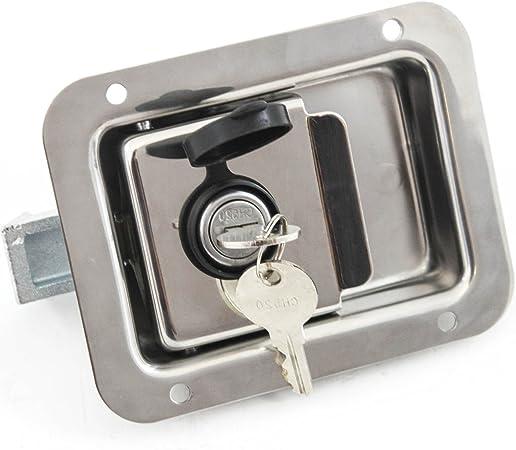 B Baosity RV Travel Trailer Lock Puerta De Entrada Caja De Herramientas Manija Pestillo Acero Inoxidable
