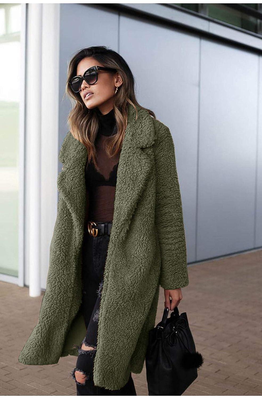 7a7a11019 Amazon.com: Women Autumn Warm Long Wool Jacket Winter Coats 2019 Fashion  Cardigan Fur Jackets Coat: Clothing