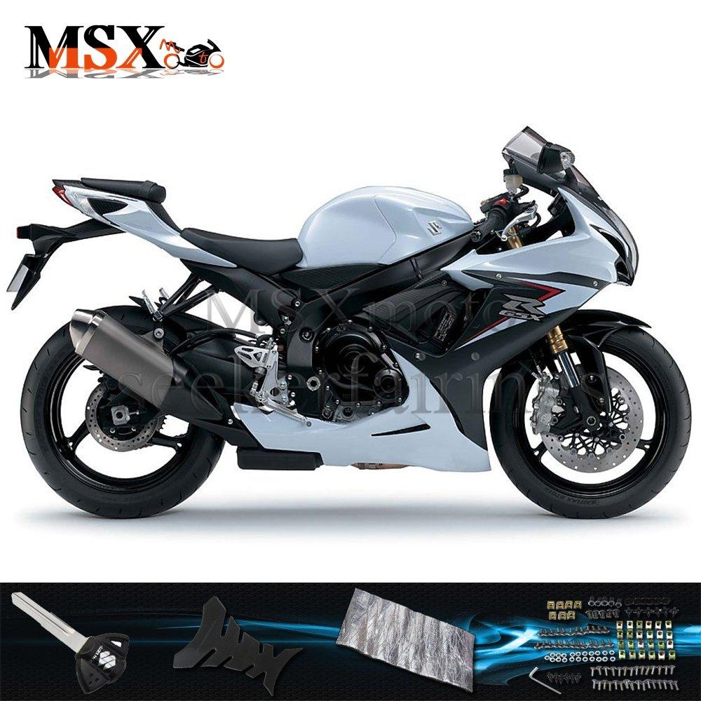 MSX-moto 適応ホンダ Suzuki GSXR600 GSXR750 K11 GSX-R600 GSX-R750 11 12 13 14 GSXR 2011 2012 2013 2014年 小R 外装パーツセット ABS射出成型完全なオートバイ車体 青/ブルー&黒/ブラックのボディ   B07F26WB4B