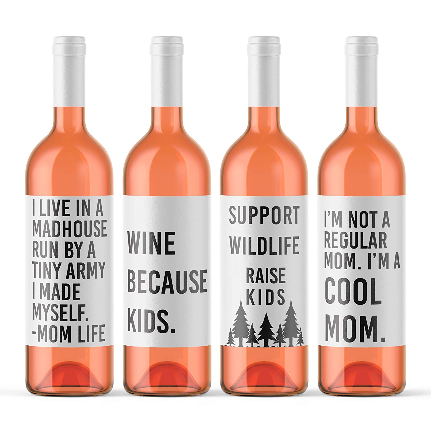 76d794f164c Amazon.com: 4 Mom Life Wine Bottle Labels I Live In A Madhouse Run ...
