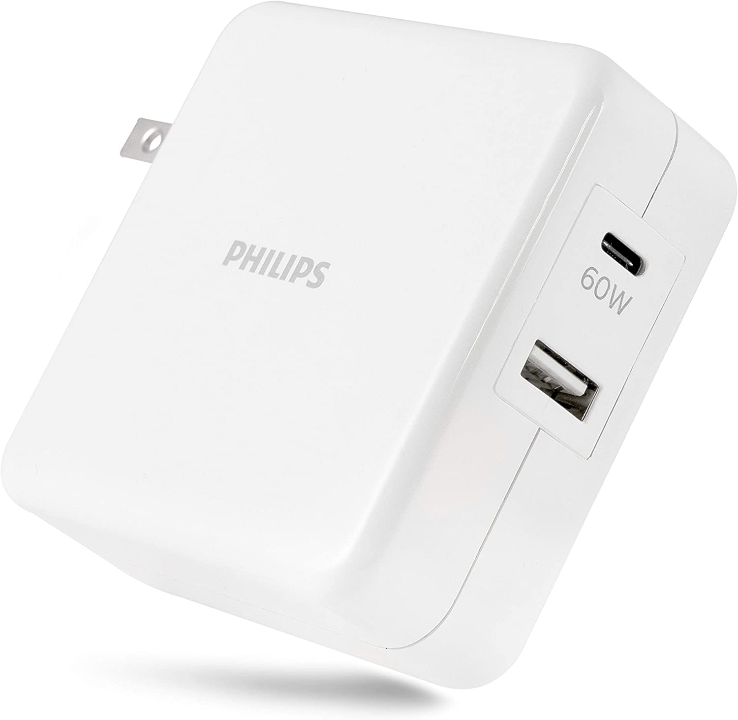 Philips 60W USB-C Laptop/Phone/Tablet Dual Port Wall Fast Charger, Power Delivery, for Type C Laptops, Macbook, iPad Pro, iPhone, Galaxy, Pixel, Great for Travel, 67.5W Total