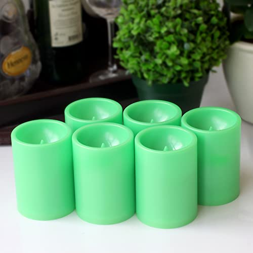 GiveU Decor Flameless Battery Operated Led Pillar Candle With Timer, 3×4 inches, 6Pack, Green