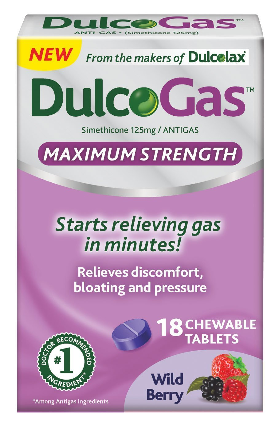 Dulcogas Maximum Strength Antigas Tablets, Wild Berry, 18 Count (pack of 2)