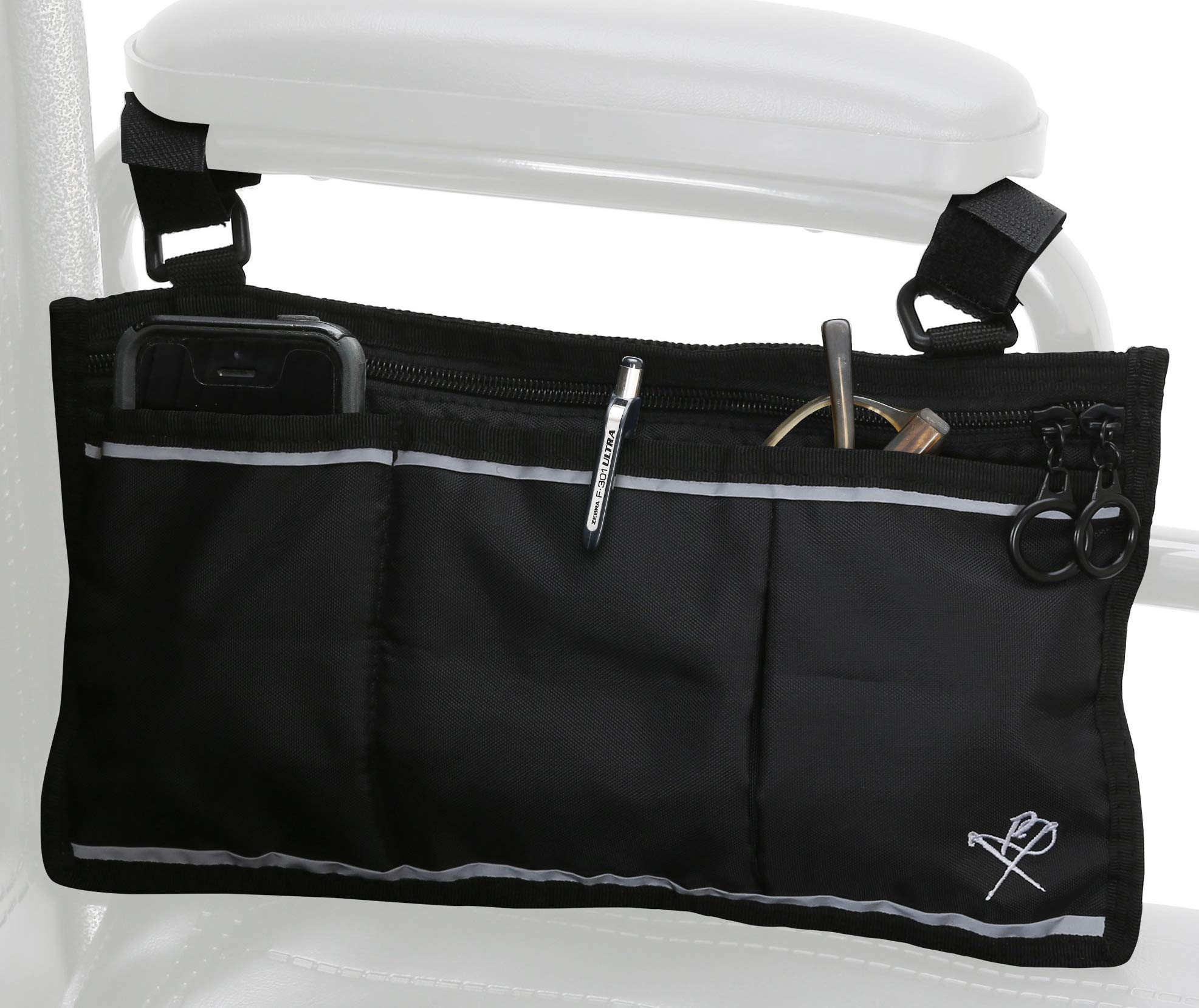 Pembrook Wheelchair Side Bag - Black - Great Accessory for Your Mobility Devices. Fits Most Scooters, Walkers, Rollators - Manual, Powered or Electric Wheelchairs by Pembrook