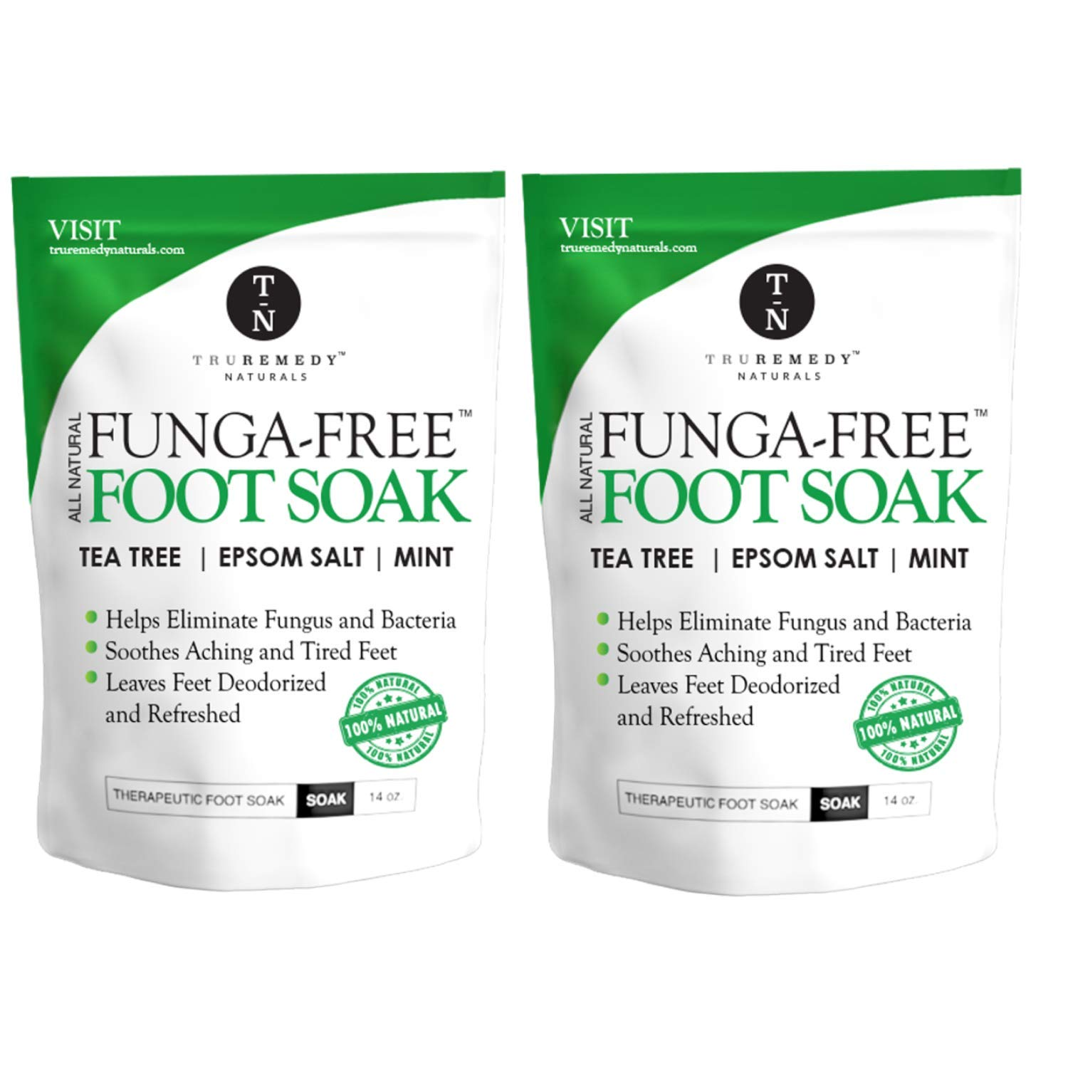 Tea Tree Oil Foot Soak With MSM, Epsom Salt & Mint, Feet Soak Helps Toenail System, Athletes Foot & Stubborn Foot Odor - Foot Bath Salt Softens Calluses & Soothes Sore Tired Feet, 14 Ounce (Pack of 2) by Truremedy Naturals