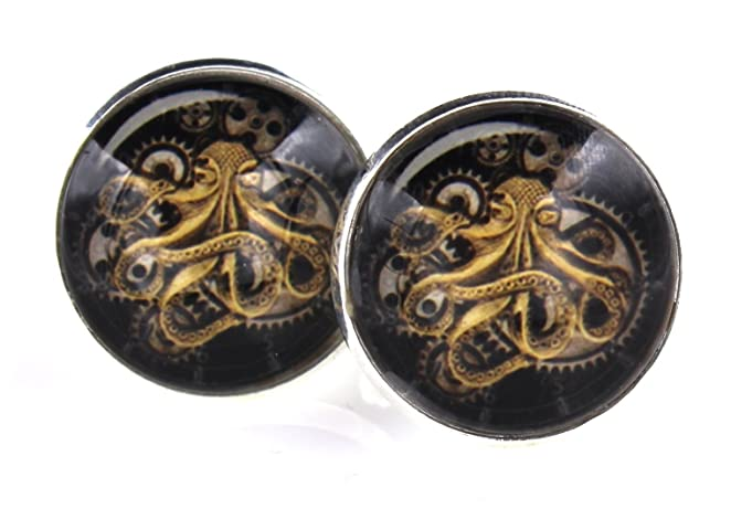 Men's Steampunk Goggles, Guns, Gadgets & Watches Steampunk - Gears OCTOPUS - Mens Cufflinks Cuff Links - Groomsmen WeddingSquid Octo $19.99 AT vintagedancer.com