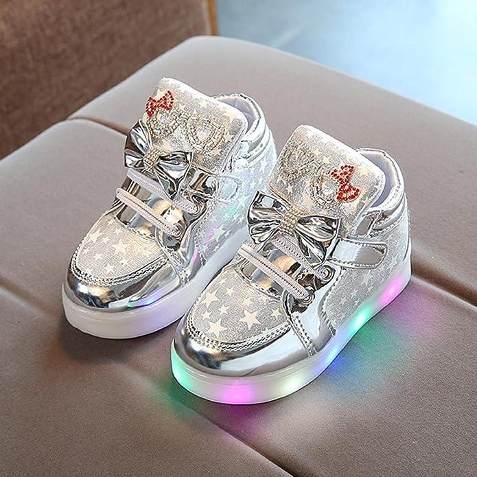 TTMall Bambino Bambino Sneakers di Moda Stella Luminosa Scarpe Casual Colorate Chiare per Bambini (2T, oro)