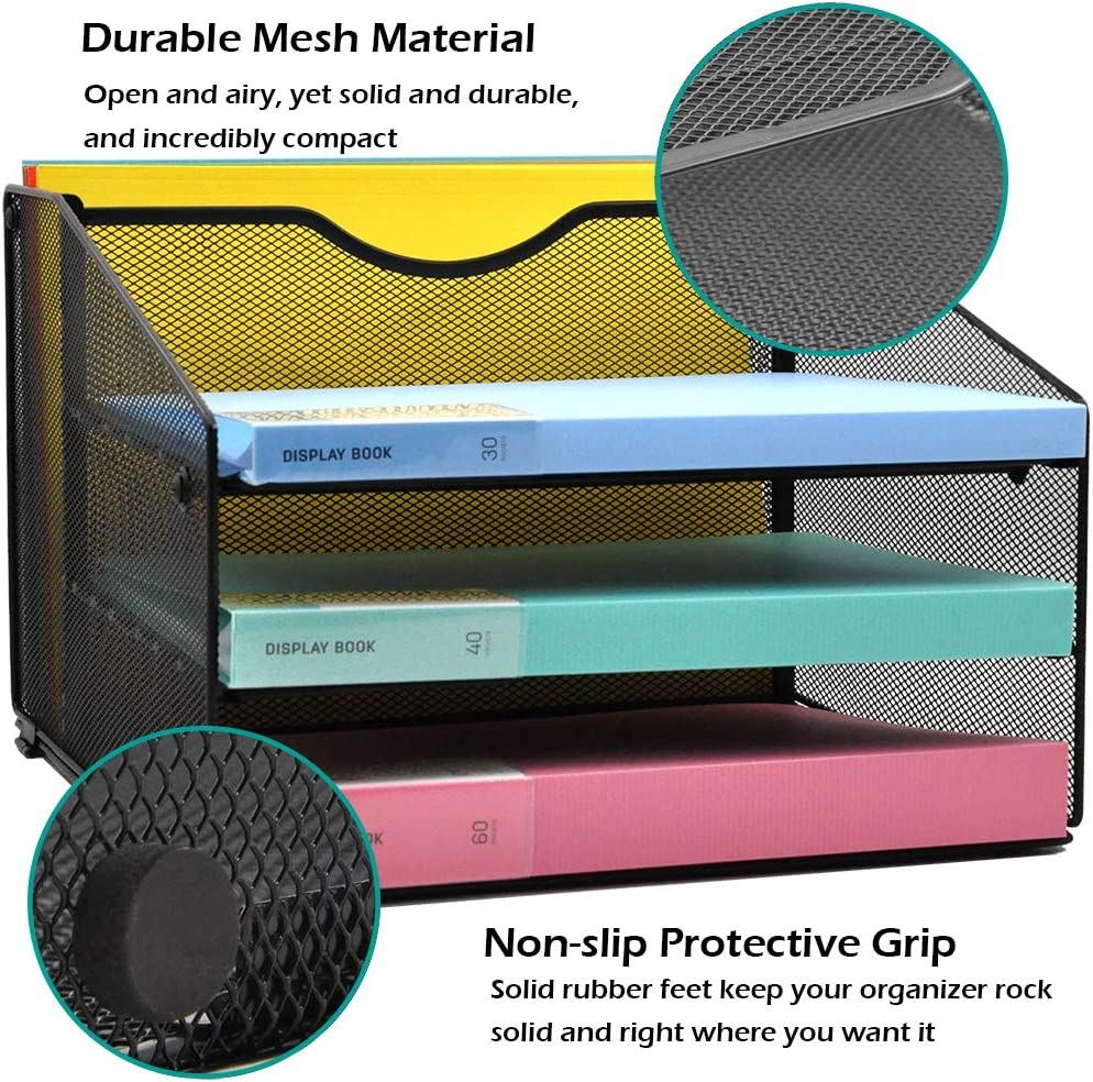 GDINDINFAN Mesh Desk File Organizer Letter Tray Desktop Hanging File Folder Holder with 3 Paper Trays and 1 Vertical Upright Compartment Black