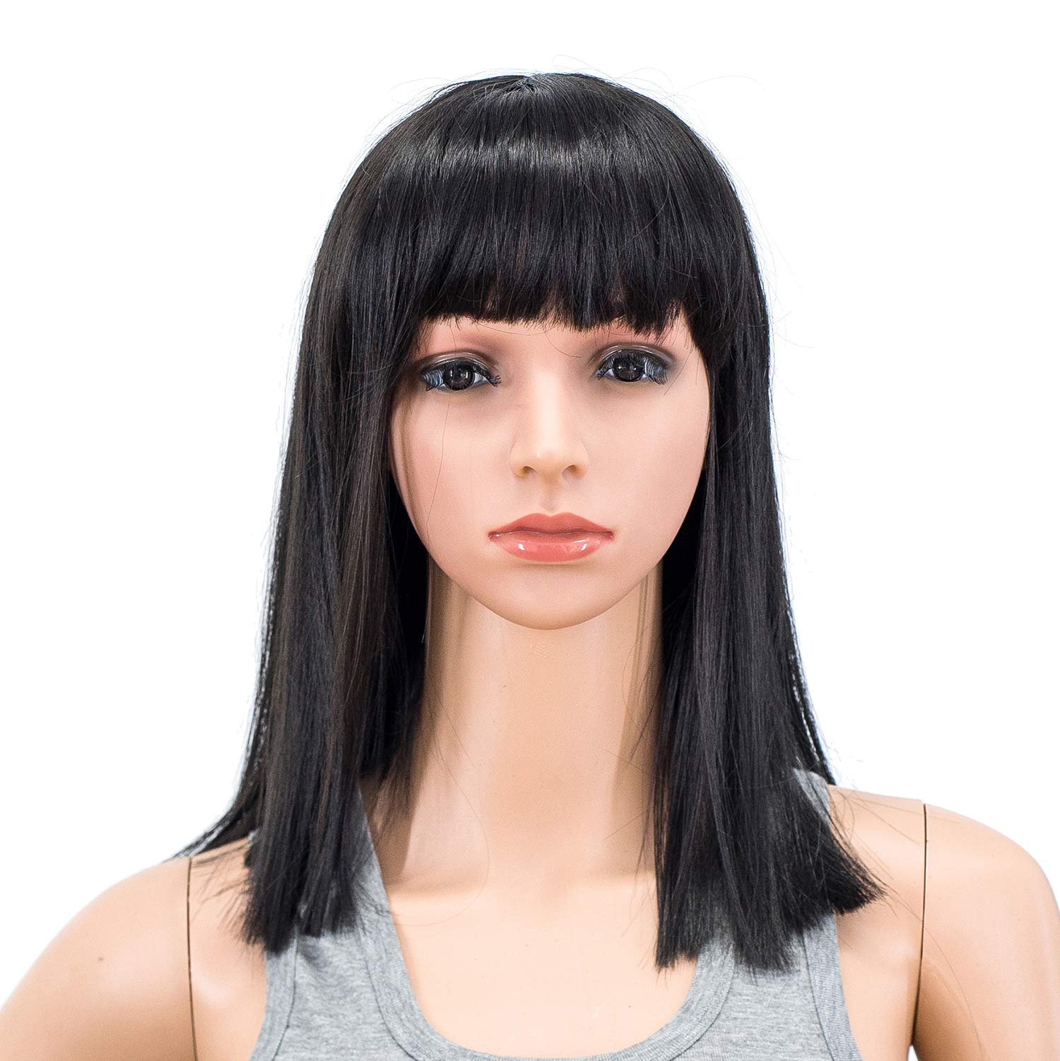 SWACC 14 Inches Short Straight Medium Shoulder Length Wig with Blunt Cut Bangs and Bottom End Synthetic Heat Resistant Hair Wigs for Women with Wig Cap (Off Black-1B) by SWACC
