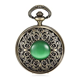 Vintage Bronze Tone Case with Green Stone See-through Back Case Hand-winding Mechanical