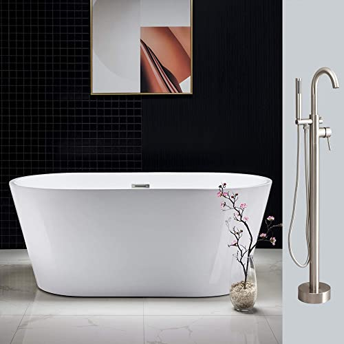 Woodbridge Acrylic Freestanding Bathtub Contemporary Soaking Tub Overflow and Drain BTA1514-B