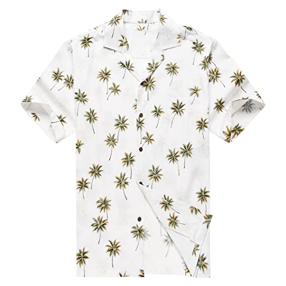 e7043341 Made in Hawaii Men's Hawaiian Shirt Aloha Shirt White with Green Palm:  Amazon.co.uk: Clothing