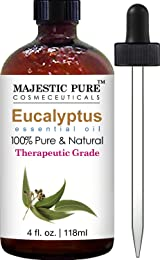 Majestic Pure Eucalyptus Essential Oil, Pure and Natural with Therapeutic Grade, Premium Quality Eucalyptus Oil, 4 fl. Oz.