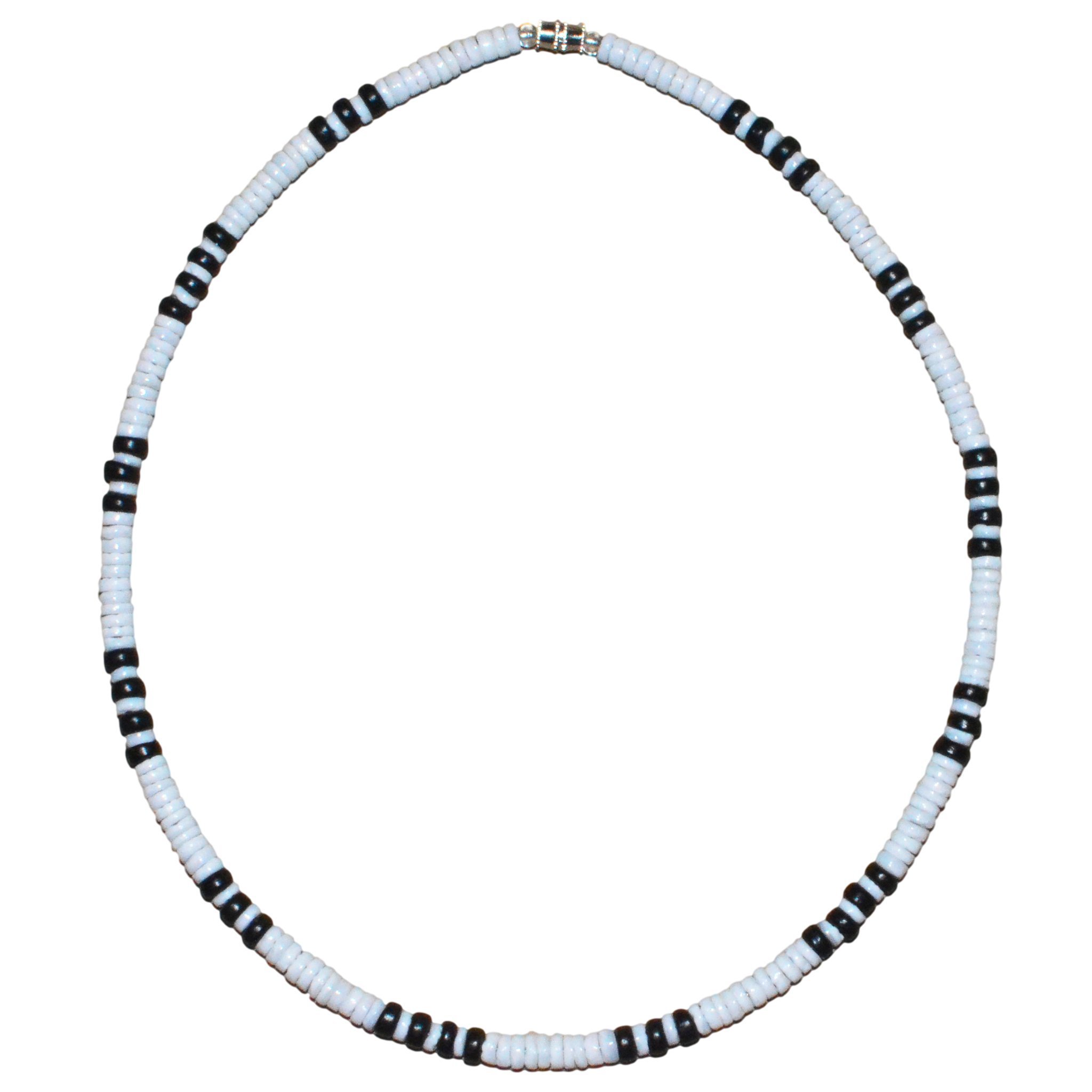 Native Treasure - 18'' White Heishe Puka Shell Black Coco Necklace - 5mm (3/16'')