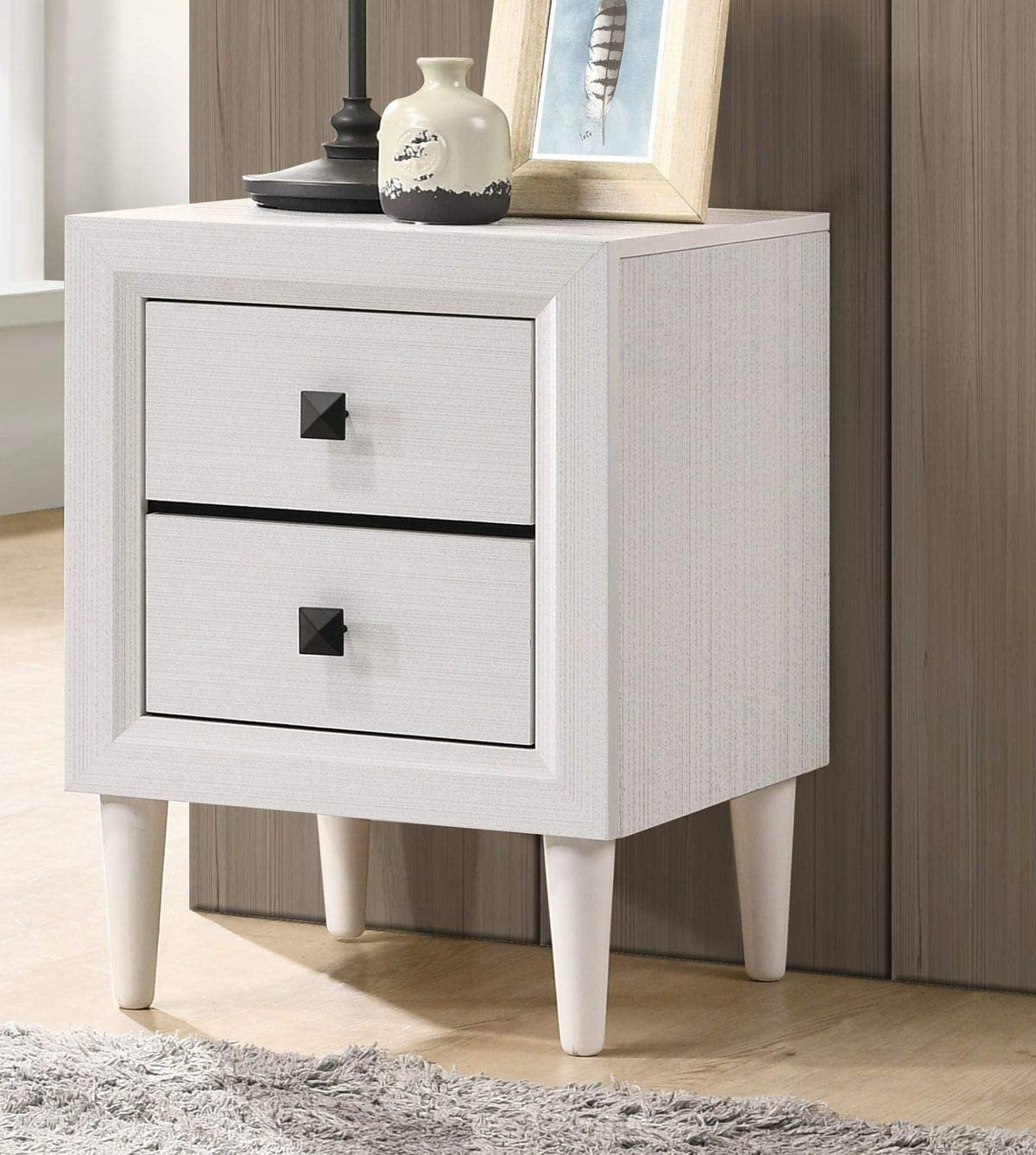 Depointer Life 2 Drawers Nightstand,Wood Bedside Storage Cabinet, Accent End Side Table Chest, Perfect for Home Furniture, Bedroom Living Room Accessories,White