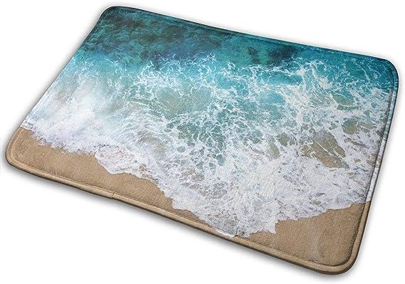 Imagen deBLSYP Felpudo Sea Wave Decorative Indoor Outdoor Doormat Non Slip Front Door Mat 24 x 16 Inch