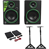 """(2) Mackie CR3 3"""" Creative Reference Multimedia Monitors Speakers+Monitor Stands"""