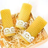 UkrArt Naturals 100% Pure Beeswax Pillar Candles Handmade in a Gift Box . Scented Candles Honey .