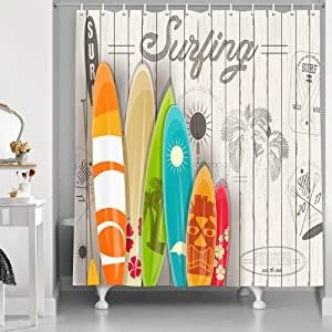 NYMB Summer Surf Shower Curtain, Tropical Colorful Surfboard on Wooden Board Bath Curtain, Polyester Cloth Fabric Shower Curtain Set for Bathroom, 12PCS Hooks, 69''W X 70''H, Grey