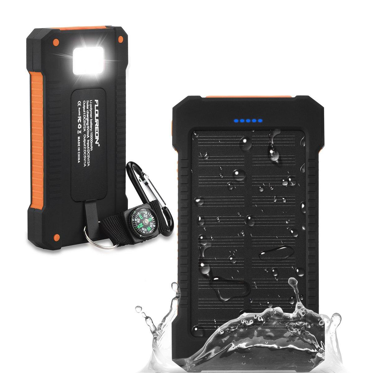 FLOUREON Batería Externa Solar Batería de Emergencia Cargador Solar a Prueba de Agua 10000mAh con 2 Puertos USB Brújula y Antorcha LED para ...