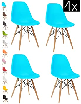 Pleasant Bravich 4X Blue Como Eiffel Dining Chair Plastic Wooden Leg Retro Lounge Chairs Modern Furniture Office Desk Andrewgaddart Wooden Chair Designs For Living Room Andrewgaddartcom