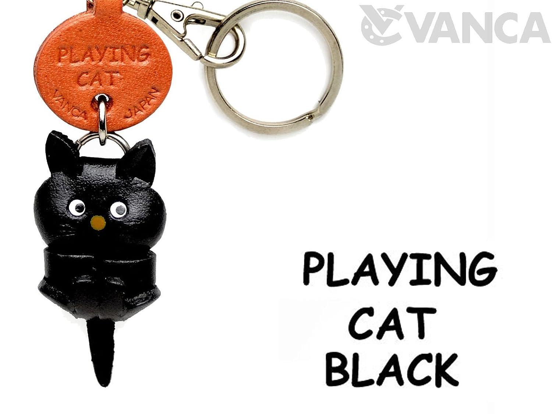 ブラックPlaying CatレザーCat SmallキーチェーンVANCA ブラックPlaying craft-collectibleキーリングチャームペンダント日本製 CatレザーCat B008DPXHXQ B008DPXHXQ, 学生ショップ一番街:07ec7a3d --- awardsame.club