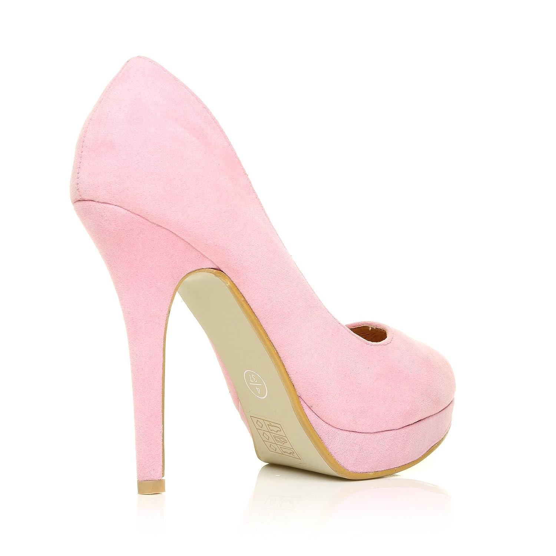 efb2145c2e7 EVE Baby Pink Faux Suede Stiletto High Heel Platform Court Shoes Size UK 8  EU 41  Amazon.co.uk  Shoes   Bags