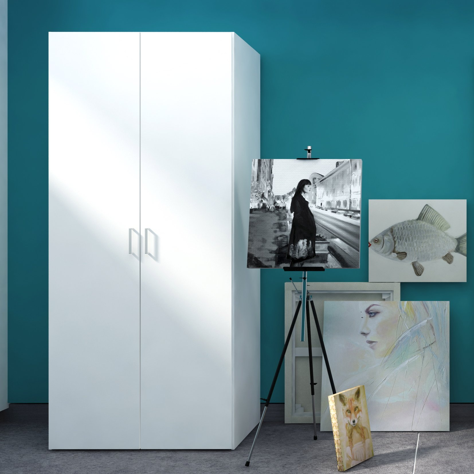 Tvilum 704174949 Space Wardrobe with with 2 Doors, White by Tvilum (Image #4)