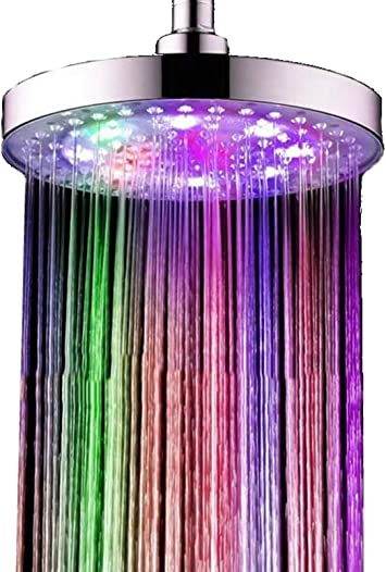 Large Led Shower Head Approximately20 Cm Round Star Line 7 Colours Colourful Colour Changing Rainbow Suitable For Home And Hotels Glows In Many Colours And Not In Single Colours Amazon Co Uk Diy Tools