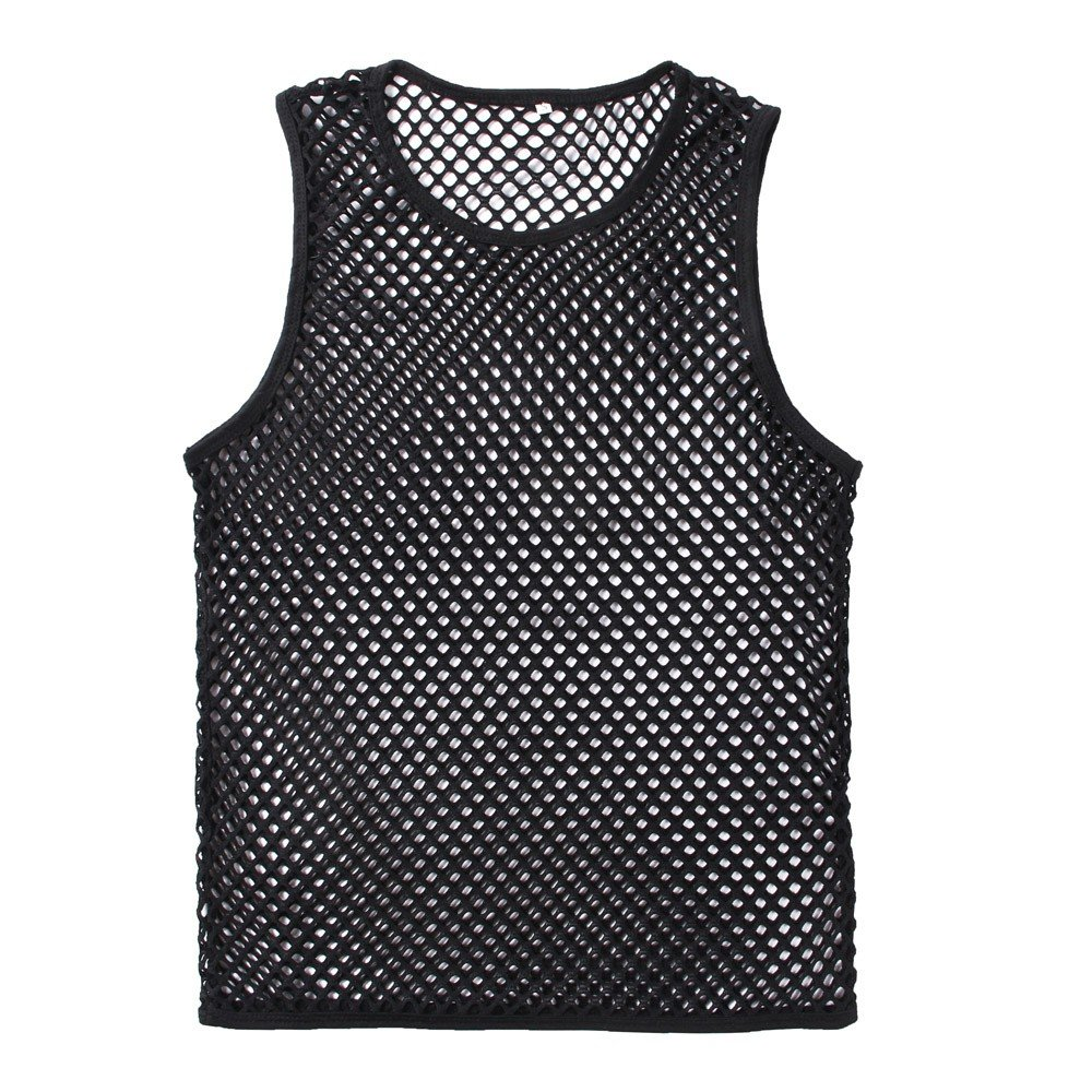 Mens See-Through Mesh Fishnet Muscle Crop Tank Top Hollow Out Muscle Underwear