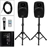 Sonart Active 2-Way 10'' Speaker System 1600W All-in-one PA System Set Professional DJ Amplified Loud Speakers Powered Speakers with Bluetooth, USB SD Card Input, MP3 FM Radio (Black)