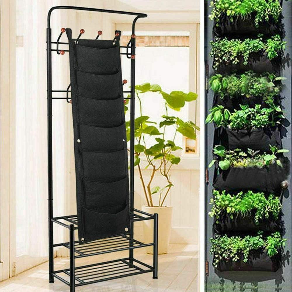 YH Bolsas de Cultivo de siembra montadas en la Pared 7 Bolsillos Maceta para Colgar en la Pared Jardiner/ía de Interior al Aire Libre Bolsa de contenedor de Flores Verdes y Verticales