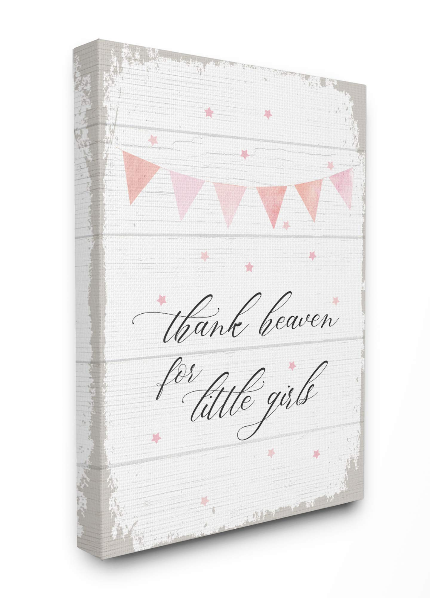The Kids Room By Stupell Pink Bunting Thank Heaven for Little Girls Planked Look Canvas Wall Art, 16 x 20, Proudly Made in USA, Multicolor by The Kids Room by Stupell